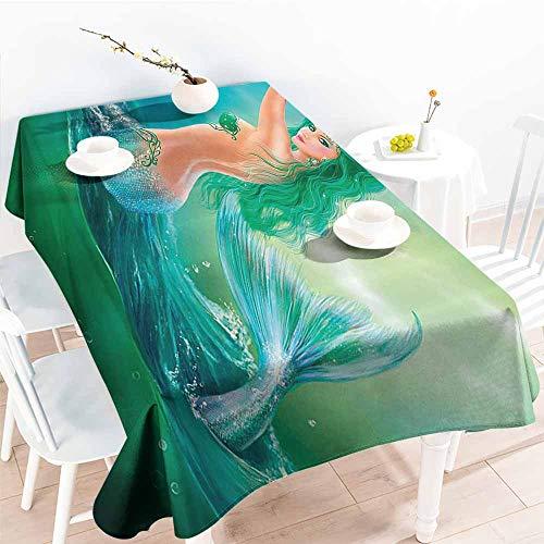 Homrkey Easy Care Tablecloth Mermaid Decor Mermaid in Ocean On Waves Tail Sea Creatures Dramatic Sky Dark Clouds Picnic W52 xL70