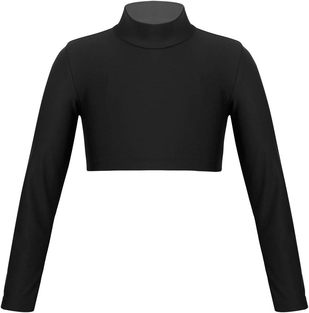 Girls Turtle Neck Crop Top Kids Long Sleeve Plain Short Stretchy Top T-Shirt