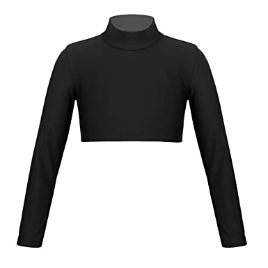 911018721fd Alvivi Kids Girls Mock Turtle-Neck Long Sleeve Sports Dance Crop Top  Athletic Tight Shirts