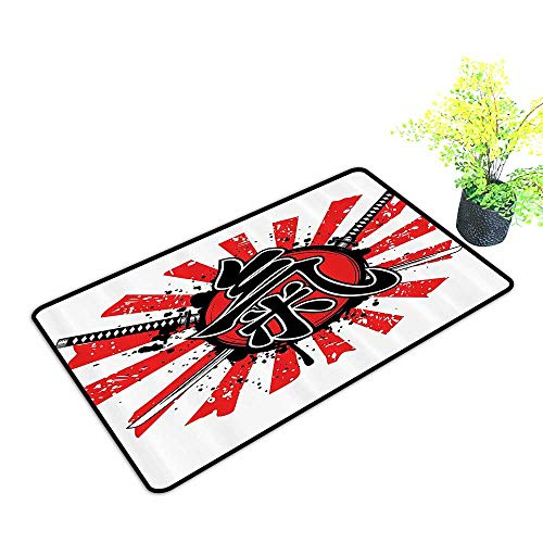 gmnalahome Extra Thick Door Mat mGrunge Style of Asian Military Armor Nobility Symbol of Early Modern Soak Up Water and Dirt W17 x H13 - Soak Nobility