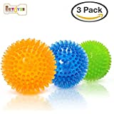 """EETOYS Durable Dog Spike Ball, 3 Pack 2 1/3"""" Squeaker Spiky Ball Squeaky Dog Toy for Tooth Cleaning, Training, Play Fetch, Boring"""