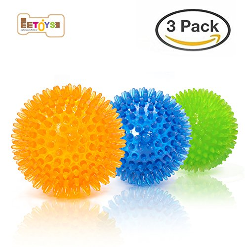 "EETOYS Durable Dog Spike Ball, 3 Pack 2.5"" Squeaker Spiky Ball Squeaky Dog Toy for Tooth Cleaning, Training, Play Fetch, boring ()"