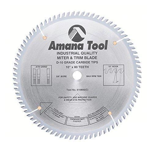 (Amana Tool 610800 Fine Trim 10-Inch x 80 Tooth ATB 5/8-Inch Bore Saw Blade)