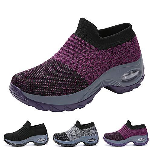 Funnie Women's Walking Shoes Sock Slip On Breathe Comfort Mesh Fashion Sneakers Air Cushion Lady Girls Modern Jazz Dance Shoes Platform Loafers Purple