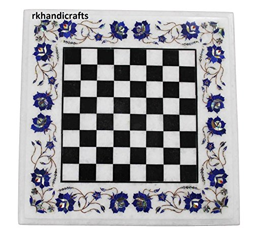 18 Inches White Square Marble End Table Top Cum Chess Table Inlay Work with Lapis Lazuli Handmade from India