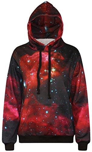 a405ad833 FLYCHEN Men s Digital Print Sweatshirts Hooded Top Galaxy Pattern ...