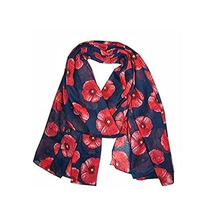 Scarf Scarves Gorgeous Ladies Poppy Flower Design Fashion Shawl Minzhi