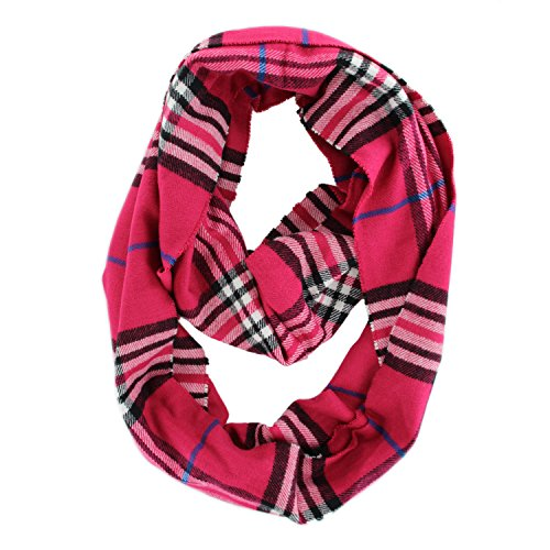 Plaids & Checks Cashmere Infinity Cowl Scarf (Hot (Hot Pink Cowl)