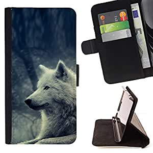 For HTC One M7 White Wolf Magical Forest Nature Dog Style PU Leather Case Wallet Flip Stand Flap Closure Cover