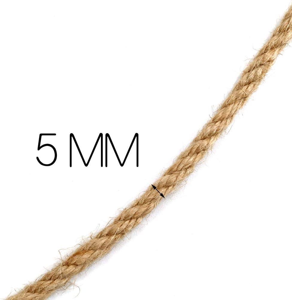 dickes Seil 3-lagiges Juteschnur Gartenseil f/ür Heimwerker 5 MM Juteseil 50M starke Hanfseilschnur