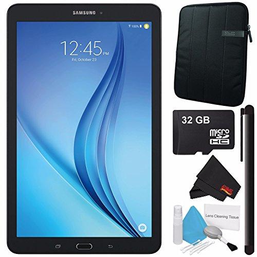 Samsung 16GB Galaxy Tab E 9.6'' Wi-Fi Tablet (Black) SM-T560NZKUXAR + Universal Stylus for Tablets + Tablet Neoprene Sleeve 10.1'' Case (Black) + 32GB Class 10 Micro SD Memory Card Bundle by Samsung