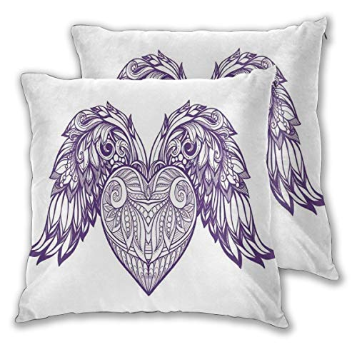 lsrIYzy Decorations Throw Pillow Cushion Cover Set of 2,Boho Ornamental Heart with Wings Love Feathers Sacred Romance Theme,Square Accent Pillow Case 22x22 - Pillow Plaid Heart