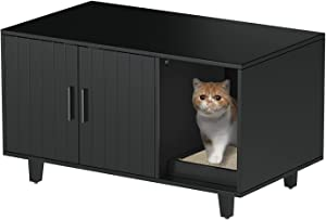 GOOD LIFE USA Modern Wood Pet Crate Cat Washroom Hidden Litter Box Enclosure Furniture House Table Nightstand with Cat Scratch Pad