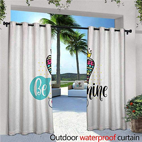familytaste Romantic Indoor/Outdoor Single Panel Print Window Curtain Colorful Patterned Heart Shape with a Crown Creative Typography Phrase Be Mine Silver Grommet Top Drape W108 x L96 Multicolor (Crown Silver Mine)