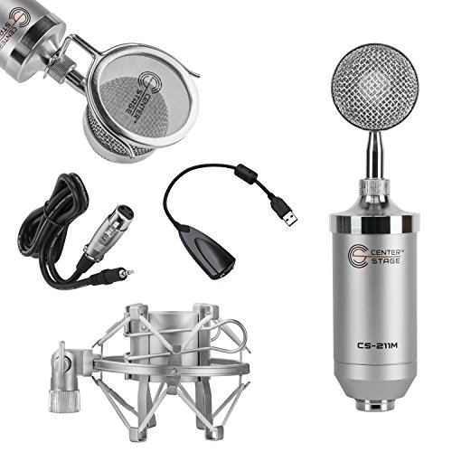 Nady Classic Tube - CenterStage CS-211 Studio Broadcast/Podcast & Recording Condenser Vocal Microphone Bundle Kit with Pop Filter + Shockmount + XLR to 3.5mm Cable + USB Soundcard