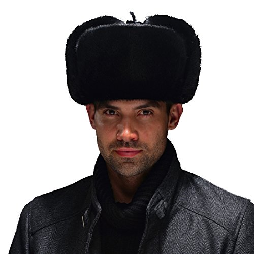 URSFUR Men's Mink Fur & Leather Russian Ushanka Trapper Hats (One Size, Black) by URSFUR