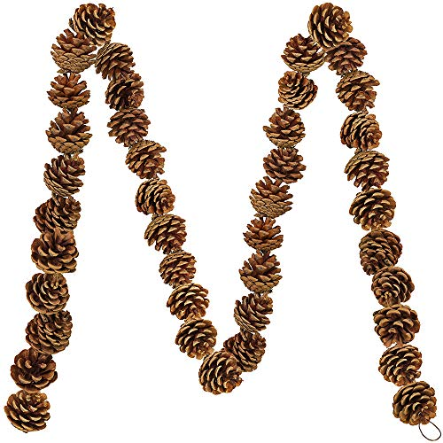 Supla 6' Long Rustic Pine Cone Garland Dried Natural Hanging Pine Cone Strings Pine Cones Vine - 42 Pcs Pinecones for Christmas Winter Holiday Indoor and Outdoor Decor