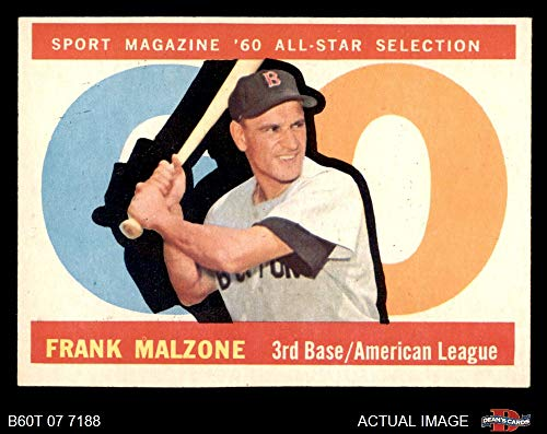 1960 Topps # 557 All-Star Frank Malzone Boston Red Sox (Baseball Card) Dean's Cards 5 - EX Red Sox