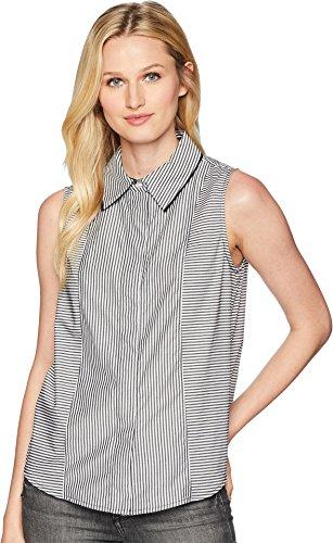 Calvin Klein Women's Sleeveless Woven Pullover Top Black/White Medium (Calvin Klein Black Sleeveless Top)