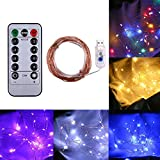 youul USB Remote Control 8 Function 5M/16.4ft 50 LED Christmas Copper Wire Lights Curtain Light String bar Lights Christmas Day Light String Lights (Purple)