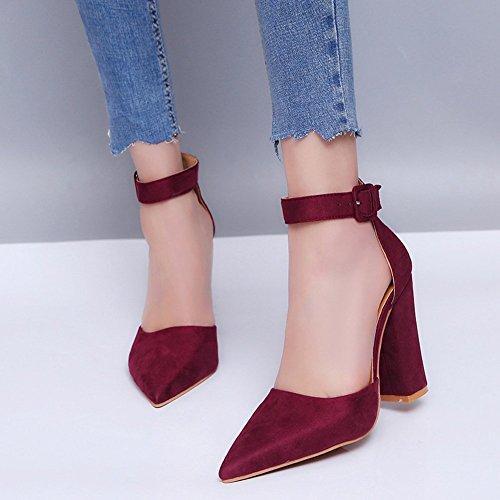 Hauts Plage Sweet Talons Mode Sandale Décontractée Minetom Boucle Vin Shoes Bloc de Pointue Rouge Printemps Femme Chaussures Été Tête RBZn78