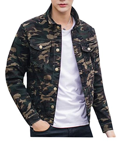 Uuyuk Mens Classic Slim Camo Outdoor Pockets Army Denim Jacket Aspicture US (Classic Jacket)