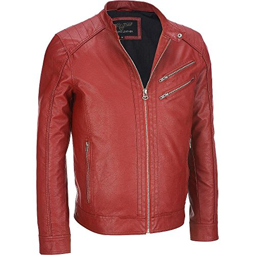 Wilsons Leather Mens Faux-Leather Moto Jacket W/ Double Chest Pockets M Red