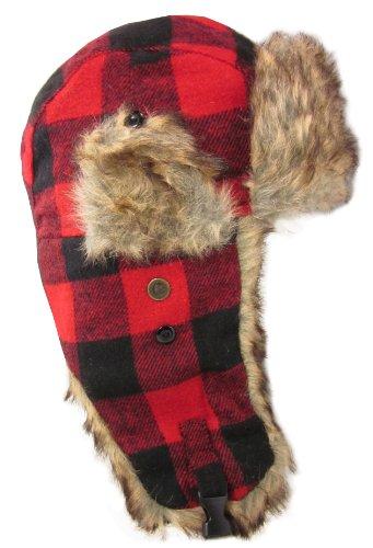 Dakota Dan Trooper Ear Flap Cap w/ Faux Fur Lining Hat (Red Buffalo Plaid/Brown)