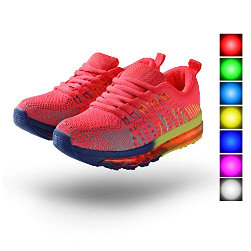 9workz Light up Shoes Unisex Air Cushion LED Low Top Sneaker Fashion for Women Girls Boys Size 1-13