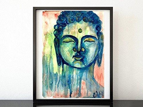Amazon Com Buddha Blue Painting Yoga Meditation Original