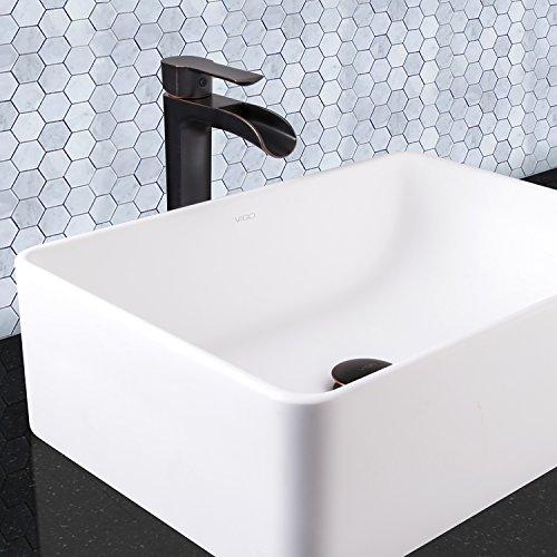 chic VIGO Niko Single Lever Vessel Bathroom Faucet with Pop Up, Antique Rubbed Bronze