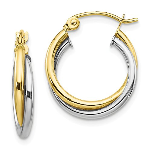 Mia Diamonds 10K Two-Tone Gold Yellow and Textured Twist Hoop Earrings (19mm x 16mm)