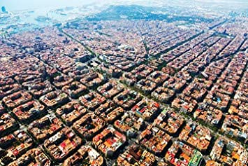 Aerial View of Barcelona Cityscape from Helicopter (68936585 ...