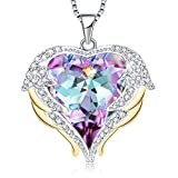 "Mevecco ""Heart of The Ocean Heart Pendant Necklace Made with Swarovski Crystals-NK10-Vol Light"