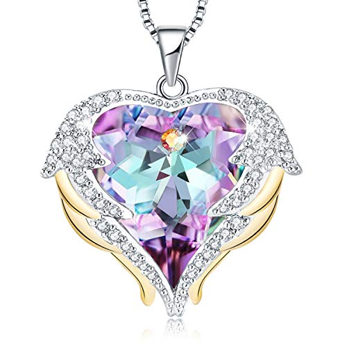 "Mevecco ""Heart Of the Ocean"" Heart Pendant Necklace Made with Swarovski Crystals-NK10-Vol Light"