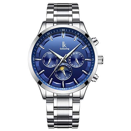 Bestn Men's Mechanical Watch Automatic Moon Creative Waterproof Calendar Weekly,Roman Numeral Business Casual Stainless Steel Strap
