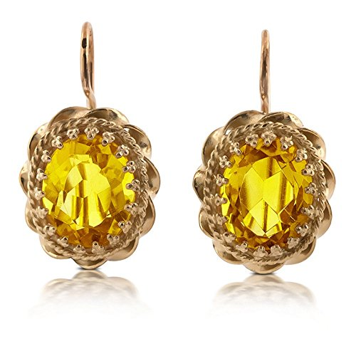 Vintage Style Solid 14K Gold Citrine (Antique Citrine Earrings)
