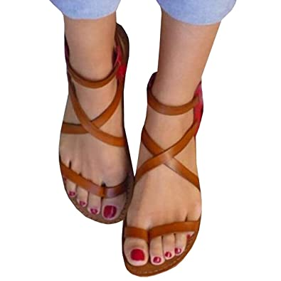 3a34c6b3fe31c Womens Gladiator Strappy Flat Thong Criss Cross Ankle Wrap Summer Beach  Sandals