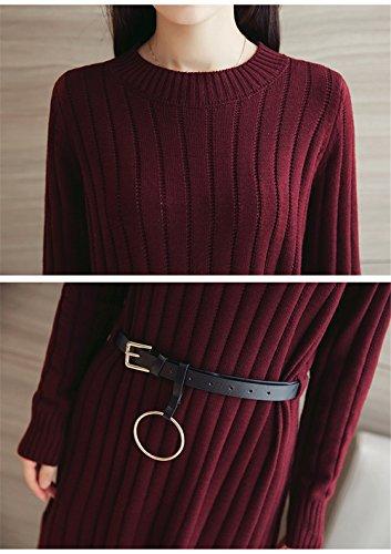 Invernali Moda Abiti Da Sciolti Stricksweat Rosso Manica Lunga Maglione Maglieria A Dress Donna Maglia XTZuwPilOk