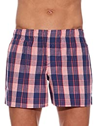 New UNNO Mens WOVEN BOXER SHORTS 2-Pack 100% Cotton Plaid Loose Briefs M L