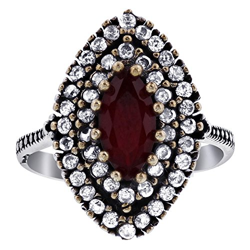Ruby Marquise Simulated - Gem Avenue 925 Sterling Silver Faceted Cut Marquise Shape Simulated Ruby Ethnic Turkish Ring Size 7.25