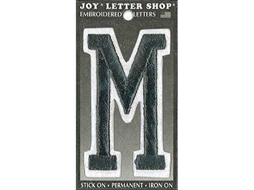Joy JOY34013 Applique Letter Iron On Varsity Black M, (Varsity Applique)