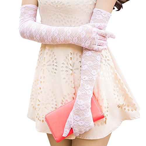 Nappaglo Women's Long Lace Sunscreen Gloves Vintage Floral for Summer UV Protection Wedding Party Driving (Pink)]()