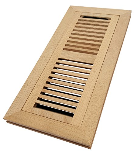 Homewell White Oak Wood Floor Register, Flush Mount Vent with Damper, 4x12 Inch, Unfinished