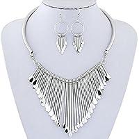 Necklace, New Luxury Womens Metal Tassels Pendant Chain Bib Necklace Earrings Jewelry Set Mchoice