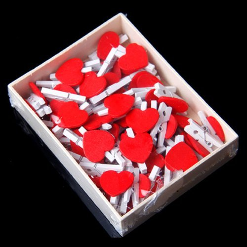 50 Pcs Red Heart Accent White Wooden Spring Clothespins Memo Clips - 7