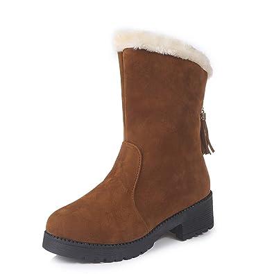 Botas De Nieve De Plataforma Plana para Mujer Botas De Invierno De Piel De Charol De Felpa con Flecos Plataformas Roma Botines: Amazon.es: Zapatos y ...