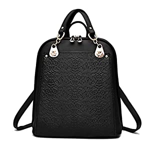 LOMOL Girls Fashion Retro Large Capacity College Student Style Leather Shoulder Bag Backpack(C1)