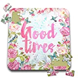 3dRose Uta Naumann Sayings and Typography - Blue and Pink Artprint Flower Frame Gold Typography - Good Times - 10x10 Inch Puzzle (pzl_289863_2)