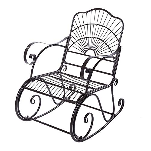 Outdoor Rocking Chair, Metal Rocking Chair Seat Single Chair for Patio, Porch, Deck, Outdoor -